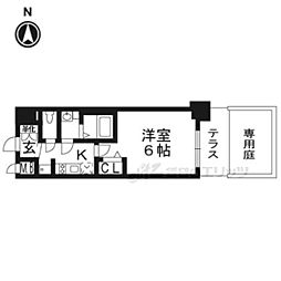 京都市営烏丸線 九条駅 徒歩5分の賃貸マンション 1階1Kの間取り