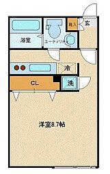 ブランシェ渋谷松見坂WEST 2階ワンルームの間取り