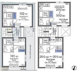 ラフォート菊川 5階ワンルームの間取り