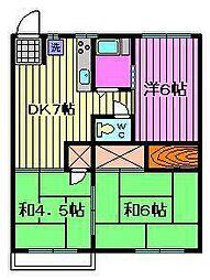 第2富田コーポ[201号室]の間取り