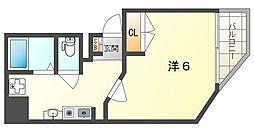 守口駅前敷島第二ビル 6階ワンルームの間取り