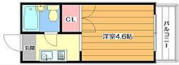 弘竹ホワイトハイツ 2階1Kの間取り