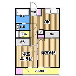 コーポ奥隅[2階]の間取り