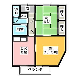 アパートメント岡ノ脇 B棟[2階]の間取り