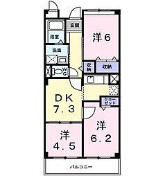 ポンテ・ペルレ 2階3DKの間取り