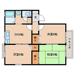 京都府木津川市相楽台8丁目の賃貸アパートの間取り
