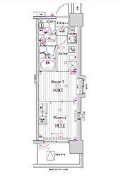 東京メトロ東西線 木場駅 徒歩13分の賃貸マンション 4階2Kの間取り