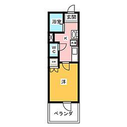 グランテージ鶴ヶ島 1階1Kの間取り