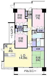 ラミーユ勝田台ハイライズイーストヒル[2階]の間取り
