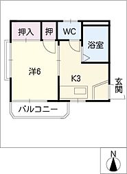 ウッドハウス金森[2階]の間取り
