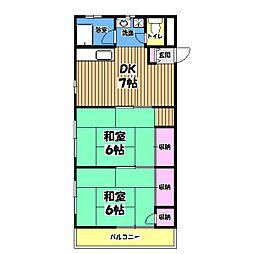 東京都青梅市河辺町4丁目の賃貸アパートの間取り