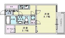 北大阪急行電鉄 桃山台駅 徒歩12分の賃貸マンション 3階1SKの間取り
