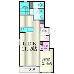 JR山手線 五反田駅 徒歩8分の賃貸マンション 1階1LDKの間取り