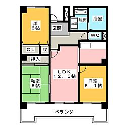 レインボー石薬師[8階]の間取り