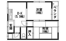 第一山本荘[208号室]の間取り
