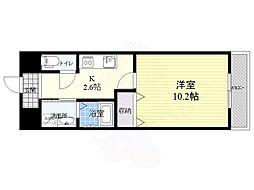 仮称西大寺南マンション 8階1Kの間取り