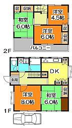 [一戸建] 東京都東久留米市中央町3丁目 の賃貸【/】の間取り