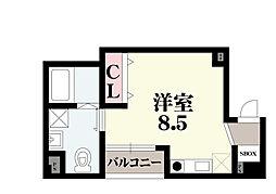 オリエントシティ・K 5階ワンルームの間取り