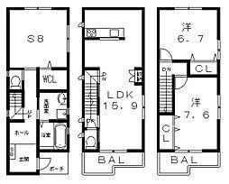 [一戸建] 大阪府八尾市久宝園1丁目 の賃貸【/】の間取り