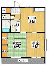原第6マンション[2階]の間取り
