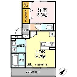 小田急小田原線 相模大野駅 徒歩19分の賃貸アパート 2階1LDKの間取り