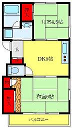 JR山手線 田端駅 徒歩17分の賃貸アパート 2階2DKの間取り