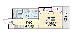 大阪府堺市西区浜寺石津町西4丁の賃貸マンションの間取り