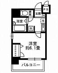 東京メトロ銀座線 京橋駅 徒歩6分の賃貸マンション 7階1Kの間取り