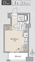 JR総武線 両国駅 徒歩13分の賃貸マンション 5階ワンルームの間取り
