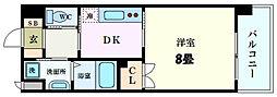 JR山陽本線 広島駅 徒歩8分の賃貸マンション 5階1Kの間取り