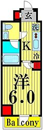 GENOVIA綾瀬sky garden 12階1Kの間取り