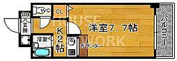 京都府京都市北区西賀茂水垣町の賃貸マンションの間取り