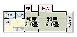 大阪府堺市西区浜寺石津町中4丁の賃貸マンションの間取り