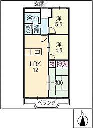 豊ハイツ[3階]の間取り