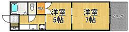 兵庫県西宮市高木西町の賃貸アパートの間取り