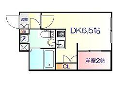 JR仙山線 東北福祉大前駅 徒歩18分の賃貸マンション 4階1DKの間取り
