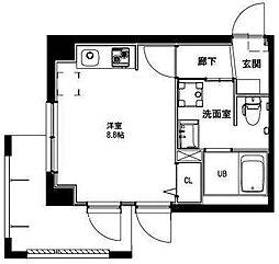 (仮称)平和島・斎藤マンション 1階ワンルームの間取り