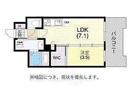 阪神本線 春日野道駅 徒歩6分の賃貸マンション 9階1DKの間取り