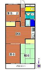 埼玉県蓮田市東6丁目の賃貸マンションの間取り
