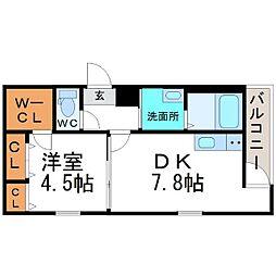 兵庫県尼崎市北竹谷町3丁目の賃貸アパートの間取り