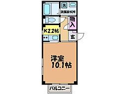 愛媛県松山市樽味2丁目の賃貸アパートの間取り