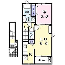 京王線 府中駅 徒歩27分の賃貸アパート 2階1LDKの間取り