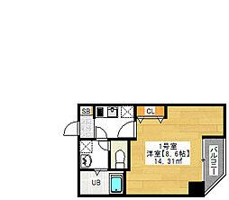 金太郎ヒルズ243 松ケ谷 6階1Kの間取り