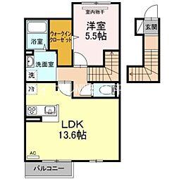 JR山陽本線 高島駅 徒歩14分の賃貸アパート 2階1LDKの間取り