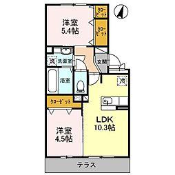 熊本市電A系統 健軍町駅 4.4kmの賃貸アパート 1階2LDKの間取り