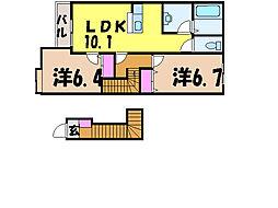 愛媛県松山市ひばりケ丘の賃貸アパートの間取り