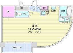 ヱビスヤパークサイド 5階ワンルームの間取り