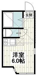 ユナイト和田町カロリング 2階ワンルームの間取り