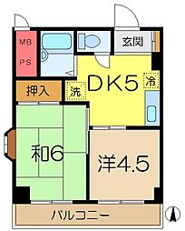 上大岡グリーンハイツD[4階]の間取り