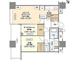 JR中央線 飯田橋駅 徒歩3分の賃貸マンション 31階1SLDKの間取り
